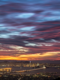 One of the best sunsets Ive seen over the San Francisco Bay Area  x