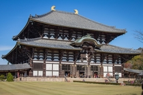 One of the biggest wooden structure in the world Todai-ji Temple in Nara Japan Look at the size of the human beings at the entrance for comparison