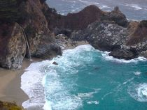 One of the few waterfalls to dump directly into the ocean McWay Falls in Big Sur CA