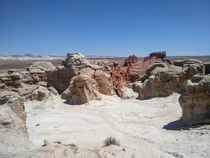 One of the highest areas in Goblin Valley made of white sand and stone in contrast to the redness of the rest of the area