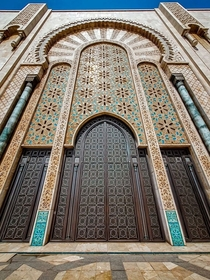 one of the huge doors of the Hassan II mosque in Casablanca Morocco