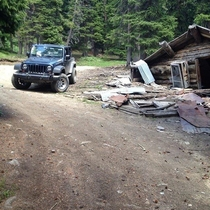 One of the many abandoned mining cabins in Colorado sorry for my old Jeep being in the pic