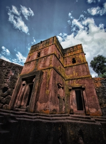 One of the monolithic Rock Churches of Lalibela Ethiopia Hewn into the mountain