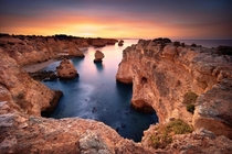 One of the most beautiful beaches in Portugal during sunrise - Marinha Beach
