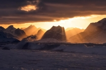 One of the most beautiful display of sunrays Ive witnessed to this day Winter sunset on the Lofoten Islands Norway