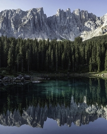 One of the most spectacular lake and mountain scenes in Europe Karersee in the Dolomites