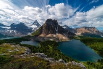 One of the most spectacular views in Canada Sunburst Peak with Mt Assiniboine behind British Columbia