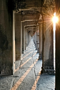 One of the numerous long corridors in the Angkor Wat temple system