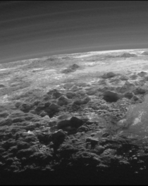 One of the rarest landscape ever taken of the outer regions of the Solar System A Plutonian LandscapeIt was captured from a range of about  kilometers when New Horizons looked back toward Pluto  minutes after the spacecrafts closest approach