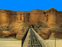 One of the  tunnels and one of the  bridges on the km Rohri to Quetta railway near Mushkaf station and Bolan Pass Pakistan x
