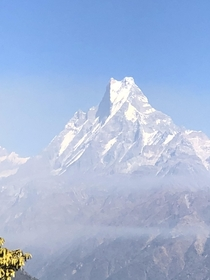 One of the untouched peaks of the world Machapuchare or Fishtail Annapurna range Nepal  x