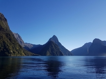One of the wettest inhabited places on Earth on a cloudless perfect day Milford Sound - New Zealand