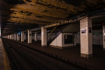 One of two disused platforms at the Hoyt-Schermerhorn Street station - Brooklyn New York