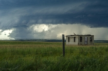 One room shack against tornado warned storm