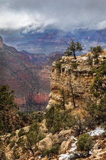 One Year Ago Moody Weather at Grand Canyon AZ USA