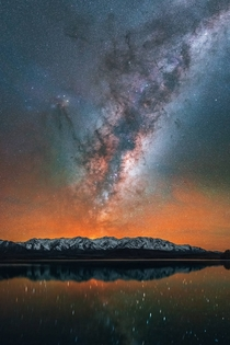 One year later The Milky Way burning bright and rising over Lake Heron New Zealand