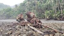 Only the two engines remain of a  year old shipwreck on the Southern Pacific coast of Costa Rica