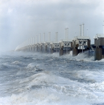 Oosterschelde storm surge barrier in use the Netherlands