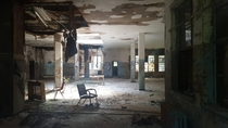 Open area in an abandoned psych hospital NY
