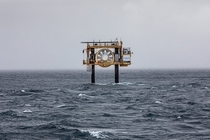 Open Centre Turbine at EMEC tidal test site between islands Eday and Westray Photo Matjaz Krivic