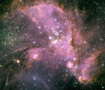 Open star cluster NGC  still in the process of forming in the Small Magellanic Cloud It contains the star HD  the brightest star in the entire SMC