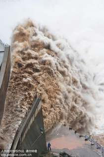 Opening of floodgate on a dam on the Yellow River China