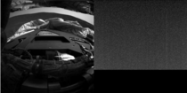 Opportunitys first image left and its last image right from the Martian surface