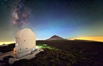 Optical Ground Station on Tenerife using a laser The invisible infrared single photons used for quantum teleportation are sent from the neighbouring island La Palma and received by the  m Telescope located under the dome of the OGS