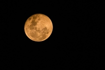 Orange Moon in Sydney Australia Due to refraction of the light caused by the recent bushfires in the Blue Mountains Region