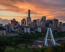 Orange skies above downtown Edmonton Canada