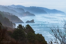 Oregon Coast south of Cannon Beach Viewed from the side of Hwy