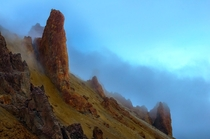 Oregon Owyhee Canyonlands outcropping during blue hour while on a weekend trip to a hot spring Photo by Scott Conover