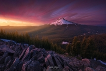 Oregons Mount Hood and Mirror Lake as seen from the summit of Tom Dick and Harry Mountain at sunset  photo by Alex Noriega
