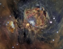 Orion Nebula in Oxygen Hydrogen and Sulfur -- Many of the filamentary structures visible in the image are actually shock waves