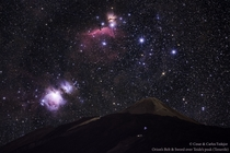 Orions Belt and Sword over Teides Peak