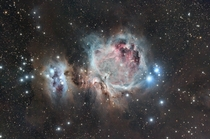 Orions nebula taken from the desert outside of Phoenix  hours worth of exposures look at that beautiful space dust