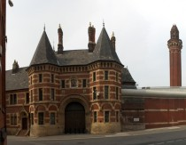 Ornate entrance and tower of HM Prison Manchester Strangeways opened in
