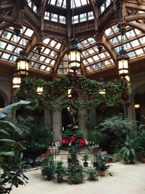Ornately designed solarium all done up for Christmas at the Biltmore Estate
