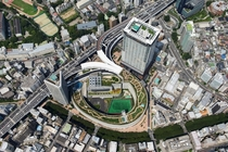 Osaki junction in Tokyo is a massive five-stacked loop that connects an underground and overground expressway with a m height difference It takes up  the size of a conventional interchange and has a rooftop garden on top of it check comments for more info