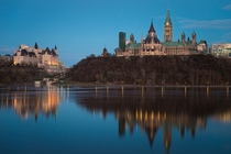 Ottawa Ontario - Chateau Laurier L and The Parliament Buildings R