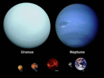 Our beautiful ice giants Uranus and Neptune in true color compared to the size of Earth Venus and Mars