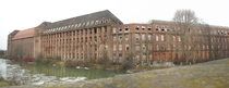 Outside view of the abandoned Continetal Tire Manufacturing Plant in Hannover Germany