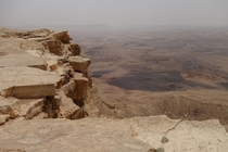 Over the edge of Makhtesh Ramon the worlds largest erosion crater
