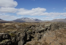 Over the rift between two tectonic plates ingvellir Iceland