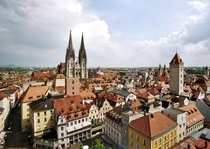 Over the roofs of Regensburg Germany