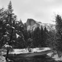overdone but understandably so -- Half Dome and Merced River with fresh snow