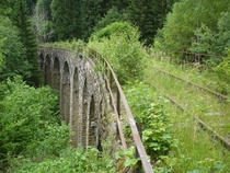 Overgrown railway bridge between Krsn Jez and Lenice in the Czech Republic