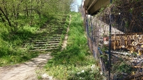 Overgrown stairs next to the highway underpass which is near to where I live in Belgrade Serbia
