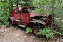 Overgrown US Navy Fire Truck near Jawbone Flats Opal Creek OR
