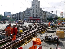Overhaulding the tram tracks in Basel CH